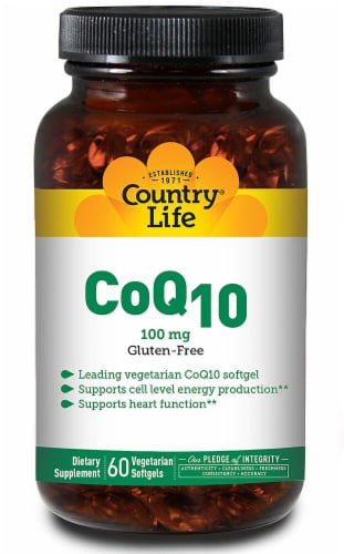 Country Life CoQ10 Vegetarian Softgels 100 mg Perspective: front