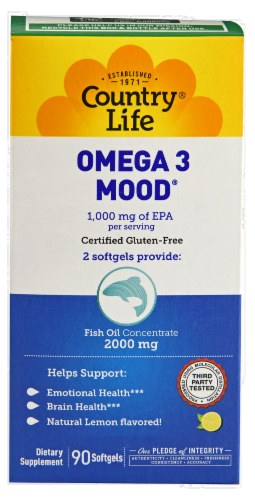 Country Life Omega-3 Mood 1000 mg Softgels Perspective: front