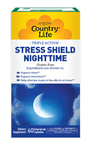Country Life Triple Action Stress Shield Night-Time Vegetarian Capsules Perspective: front