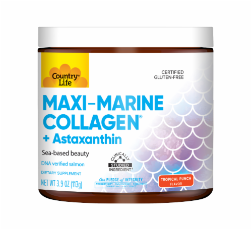 Country Life Maxi MArine Collagen Tropical Punch Flavor Beauty Supplement Perspective: front