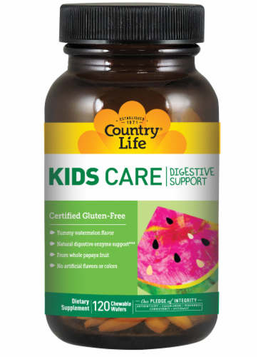 Country Life Kids Care Digestive Support Watermelon Flavor Chewable Wafers 120 Count Perspective: front