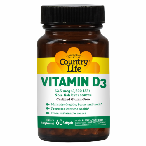 Country Life Vitamin D3 Softgels 2500IU Perspective: front