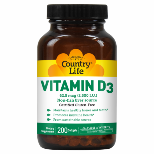 Country Life Vitamin D3 Softgels 2500 IU 200 Count Perspective: front