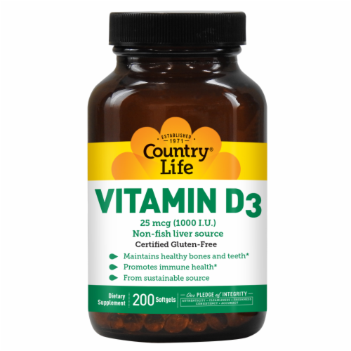 Country Life Vitamin D3 Softgels 1000IU Perspective: front