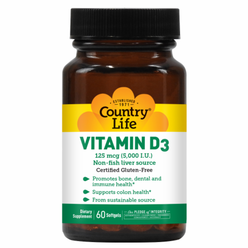 Country Life Vitamin D3 Softgels 5000IU Perspective: front