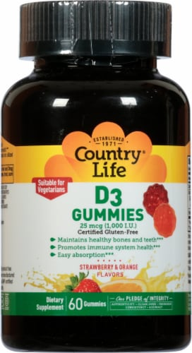 Country Life Strawberry & Orange D3 Gummies 1000 IU 60 Count Perspective: front