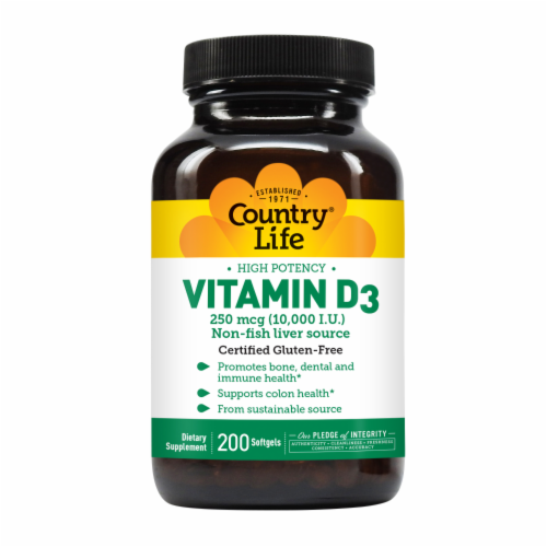 Country Life Vitamin D3 Softgels 250mcg Perspective: front