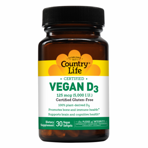 Country Life Vegan D3 Vegan Softgels 5000IU Perspective: front