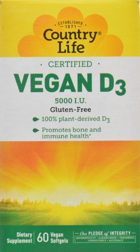 Country Life Vegan D3 Softgels 5000 IU 60 Count Perspective: front
