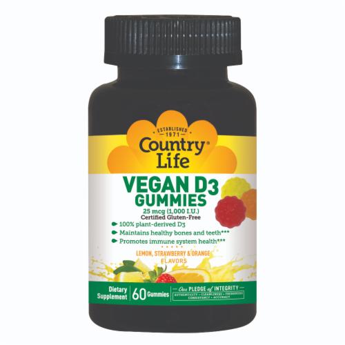 Country Life Vegan D3 Lemon Strawberry & Orange Gummies 1000 IU Perspective: front