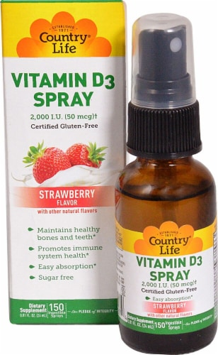 Country Life Strawberry Vitamin D3 Spray 2000 IU Perspective: front