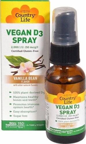 Country Life Vanilla Bean Vitamin D3 Spray 2000 IU Perspective: front