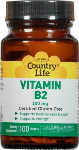 Country Life Vitamin B2 Tablets 100mg 100 Count Perspective: front