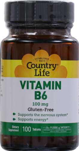 Country Life Vitamin B6 Tablets 100mg 100 Count Perspective: front