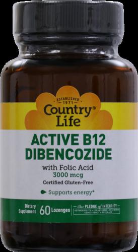 Country Life Active B-12 Dibencozide with Folic Acid Lozenges 3000 mcg Perspective: front
