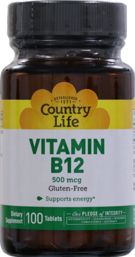 Country Life Vitamin B12 Tablets 500mcg Perspective: front