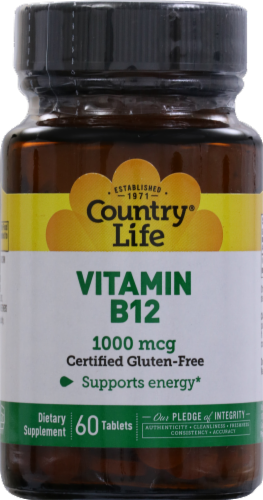 Country Life Vitamin B12 Tablets 60 Count Perspective: front
