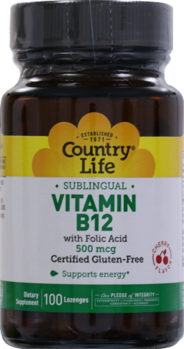 Country Life Sublingual Vitamin B12 with Folic Acid Lozenges 100 Count Perspective: front