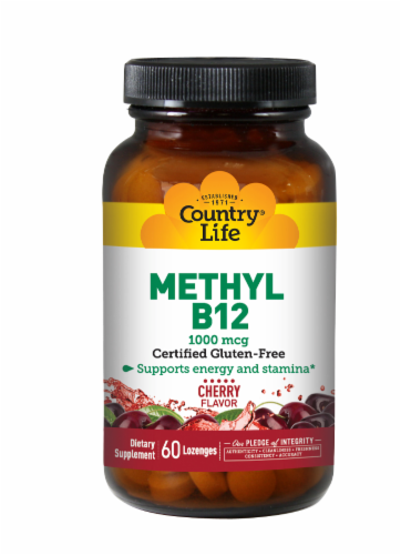 Country Life Methyl B-12 Cherry Flavor Lozenges 1000mcg Perspective: front