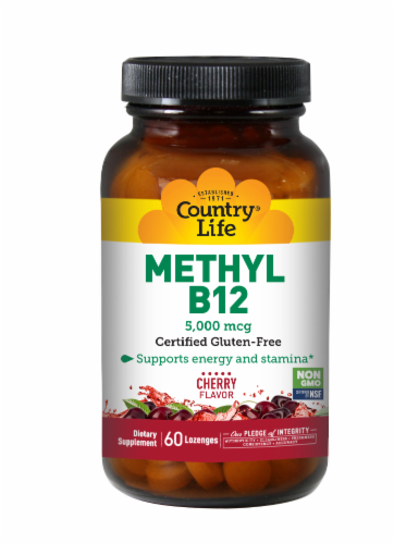 Country Life Methyl B-12 Cherry Flavor Lozenges 60 Count Perspective: front