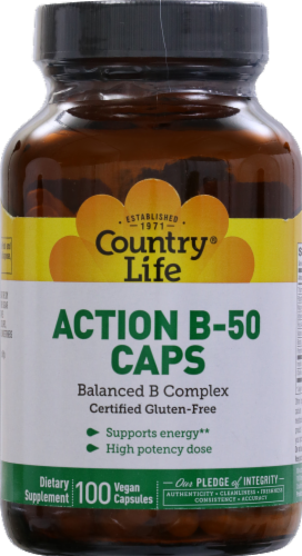 Country Life Action B-50 Vegan Capsules 100 Count Perspective: front