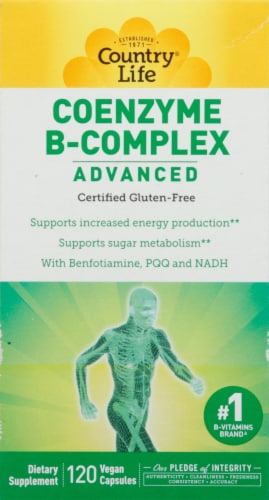 Country Life Advanced Coenzyme B-Complex Vegetarian Capsules 120 Count Perspective: front