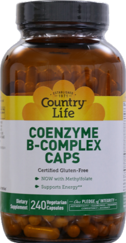 Country Life Coenzyme B-Complex Vegetarian Capsules 240 Count Perspective: front