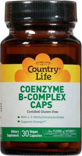 Country Life Coenzyme B-Complex Vegetarian Capsules Perspective: front