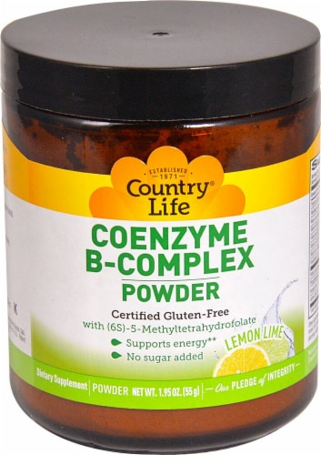 Country Life Coenzyme B-Complex Lemon Lime Flavor Powder Perspective: front