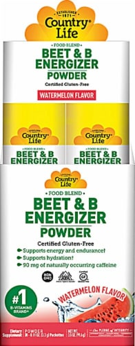 Country Life  Beet & B Energizer Powder   Watermelon Perspective: front