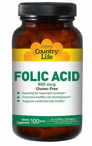 Country Life Folic Acid Tablets 100 Count Perspective: front