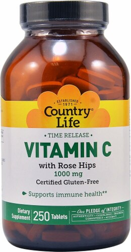 Country Life Time Release Vitamin C with Rose Hips Dietary Supplement Tablets 1000mg Perspective: front