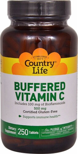 Country Life Buffered Vitamin C Tablets 500mg 250 Count Perspective: front