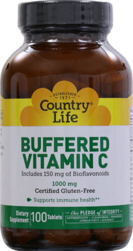 Country Life Buffered Vitamin C Tablets 1000mg 100 Count Perspective: front