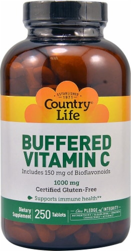 Country Life Buffered Vitamin C Tablets 1000mg 250 Count Perspective: front