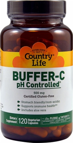 Country Life Buffer-C pH Controlled Capsules 500mg 120 Count Perspective: front
