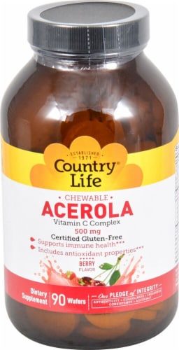 Country Life Chewable Acerola Vitamin C Complex Berry Flavor Wafers 500mg 90 Count Perspective: front