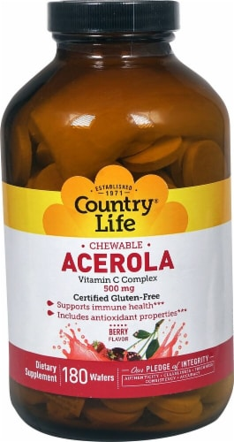 Country Life Chewable Acerola Vitamin C Complex Berry Flavor Wafers 500mg 180 Count Perspective: front