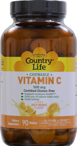 Country Life Chewable Vitamin C Juicy Orange Flavor Wafers 500mg 90 Count Perspective: front