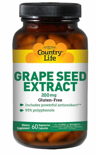 Country Life Grape Seed Extract Capsules 200 mg Perspective: front