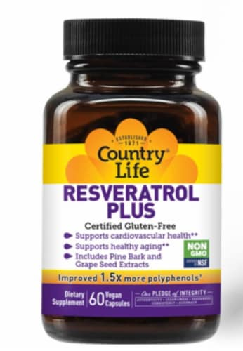 Country Life Resveratrol Plus Vegetarian Capsules Perspective: front