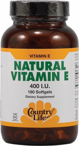 Country Life Natural Vitamin E Softgels 400 IU 180 Count Perspective: front