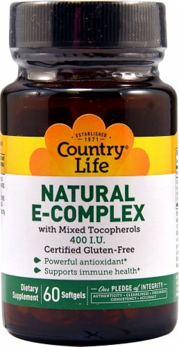 Country Life Natural E-Complex Softgels 400 IU 60 Count Perspective: front