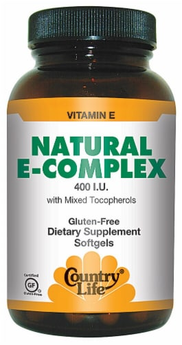 Country Life Natural E-Complex Softgels 400 IU 180 Count Perspective: front