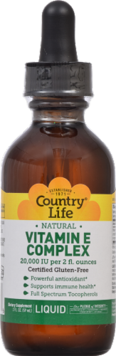 Country Life Natural Vitamin E Complex Liquid Supplement Perspective: front
