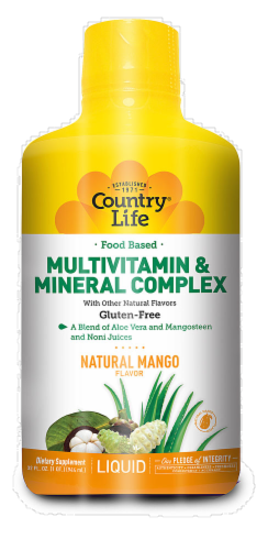 Country Life Food Based Multi Vitamin & Mineral Complex Mango Flavored Liquid Perspective: front