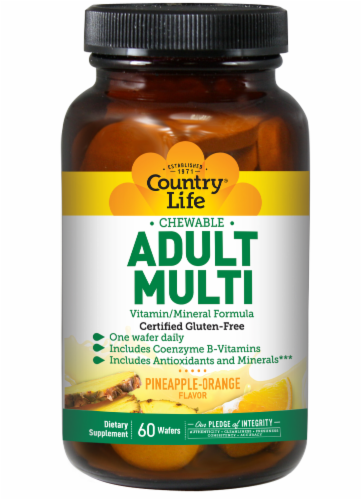 Country Life Chewable Adult Multi Vitamin / Mineral Formula Pineapple-Orange Flavor Wafers Perspective: front