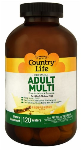 Country Life Chewable Adult Multi Pineapple-Orange Dietary Supplement Wafers Perspective: front