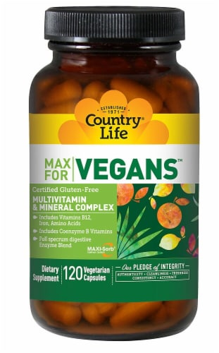 Country Life  Max for Vegans Multivitamin & Mineral Complex Perspective: front