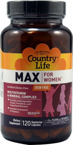 Country Life  Max for Women Iron Free  Multivitamin Perspective: front